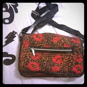 Betsey Johnson lips & leopard messenger bag